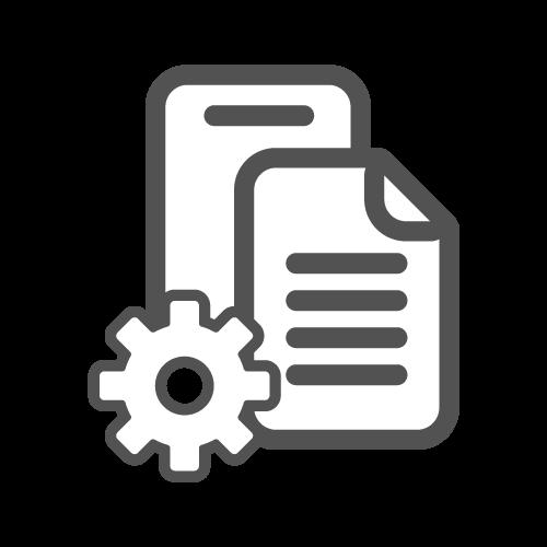 ícone de duas folhas de papel sobrepostas e uma engrenagem no canto inferior esquerdo