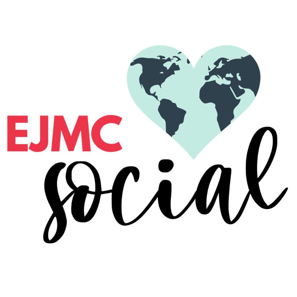 """Escrito """"EJMC Social"""" ao lado um ícone do planeta terra em forma de coração em tons de azul"""