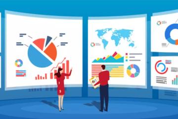 A imagem mostra um homem com uma calça preta e uma camisa vermelha e uma mulher com um vestido azul olhando para três grandes telas com gráficos. O fundo é azul. Toda a imagem é um desenho.