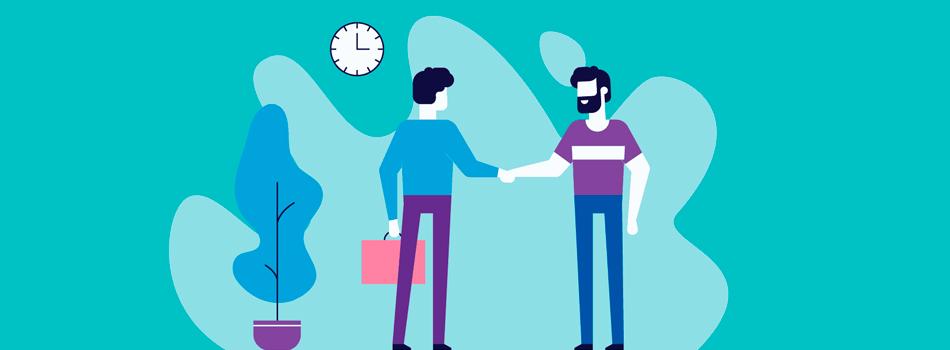 Um aperto de mãos entre duas pessoas, uma delas possui um traje executivo e a outra um traje casual