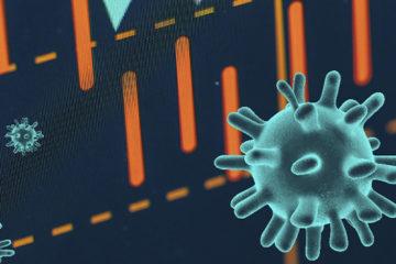 A imagem tem fundo escuro, alguns traços em cor laranja e alguns vírus espalhados em cor verde fluorescente.