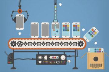 Uma linha de produção com máquinas, fabricando celulares.