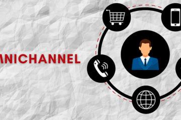 Perfil de uma pessoa envolto por um carrinho de mercado, um celular, um ícone de compartilhamento,, um telefone e uma alusão ao globo da internet