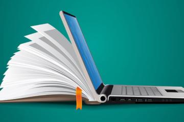 A imagem mostra um laptop em que na parte de trás tem um livro que parece estar saindo do laptop . O fundo é azul marinho.