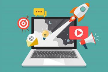 Um laptop com imagens ao redor (Um ícone do You Tube, um tiro ao alvo, uma carta, um foguete e um caixa de mensagem. O fundo é verde.