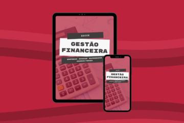 Imagem de um tablete e um celular que estão mostrando uma imagem de uma calculadora. O fundo é vermelho com uma linha de três tonalidades.