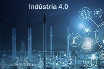 A imagem é azul, com a foto da parte externa de uma indústria. Na parte superior está escrito Indústria 4.0, enquanto no canto direito aparecem alguns símbolos de máquinas.