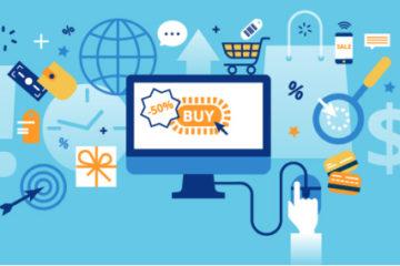 A imagem apresenta o desenho de um computador com a informação de liquidação. Em volta dele, aparecem vários ícones relacionados à compras, como cartão de crédito, carrinho de supermercado e dinheiro.
