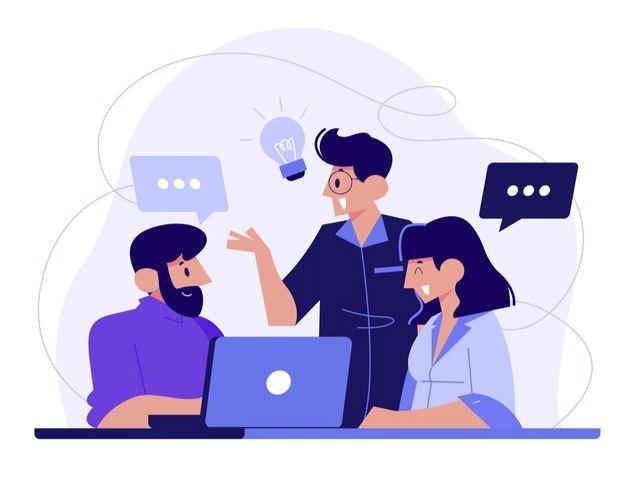 A imagem apresenta três desenhos de pessoas conversando, com um notebook, balões de diálogo e uma lâmpada, que representa ideias.